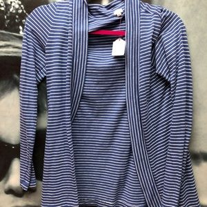 J crew blue stripped cardigan